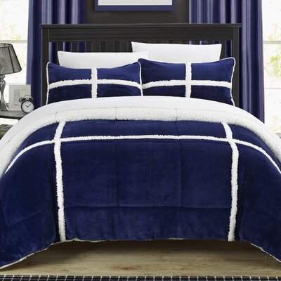 Chloe Sherpa Comforter Set Size: King, Color: Navy