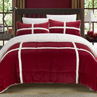 Chloe Sherpa Comforter Set Size: Twin XL, Color: Red