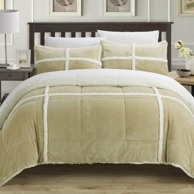 Chloe Sherpa Comforter Set Color: Camel, Size: King