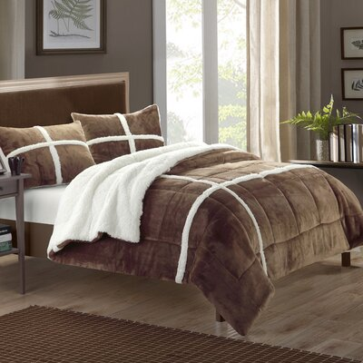 Chloe Sherpa Comforter Set Size: Twin XL, Color: Brown