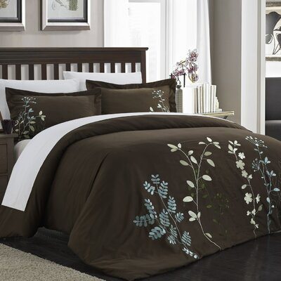 Kaylee 7 Piece Duvet Cover Set Color: Brown, Size: Queen