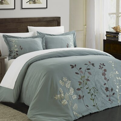 Kaylee 3 Piece Duvet Set Size: Queen, Color: Sage