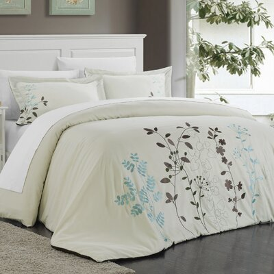 Kaylee 3 Piece Duvet Set Size: King, Color: Beige