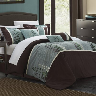Evan 12 Piece Comforter set Color: Brown, Size: Queen