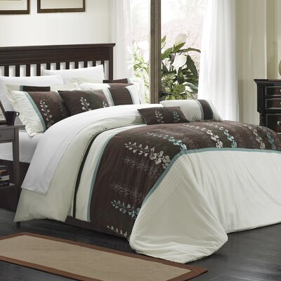 Evan 8 Piece Comforter Set Size: Queen, Color: Beige