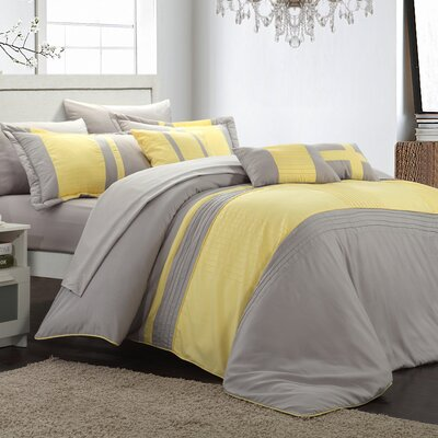 Fiesta 10 Piece Comforter Set Size: King, Color: Yellow