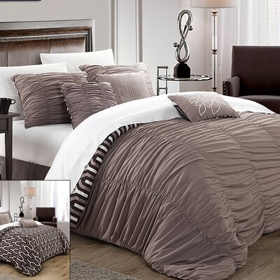 Elissa 7 Piece Reversible Duvet Cover Set Size: King, Color: Brown