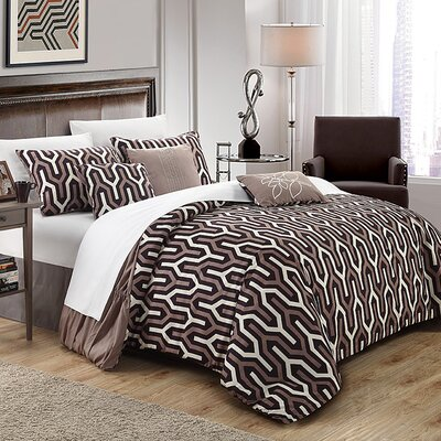 Elissa 3 Piece Reversible Duvet Cover Set Size: King, Color: Brown