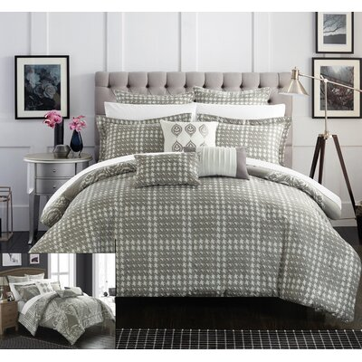 Sicily 8 Piece Reversible Comforter Set Color: Silver, Size: Queen