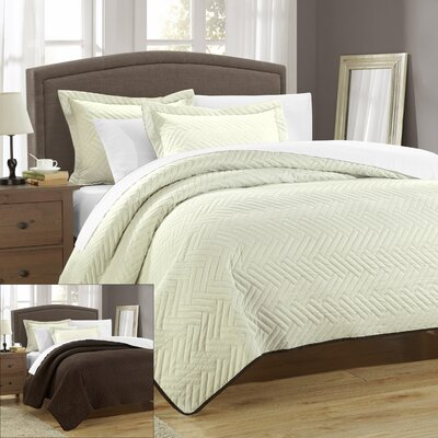 Palermo 3 Piece Reversible Quilt Size: King, Color: Beige