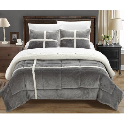 Chloe Comforter Set Size: Queen, Color: Silver