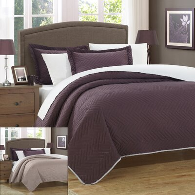 Palermo 2 Piece Twin Quilt Color: Plum