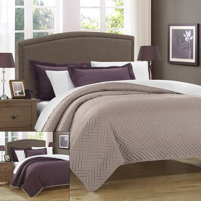 Palermo 7 Piece Reversible Quilt Set Size: King, Color: Plum