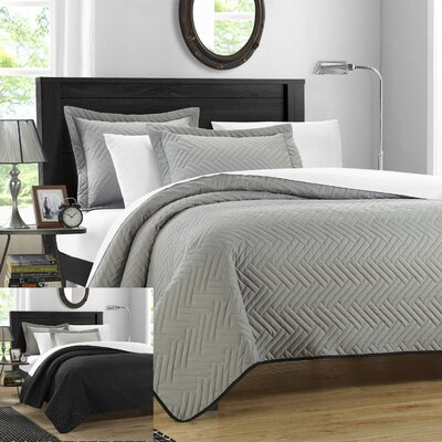 Palermo 3 Piece Reversible Quilt Size: King, Color: Silver