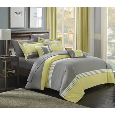 Falcon Hotel 10 Piece Comforter Set Color: Yellow, Size: Queen