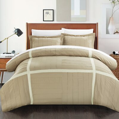 Giselle 7 Piece Duvet Cover Set Size: King, Color: Taupe