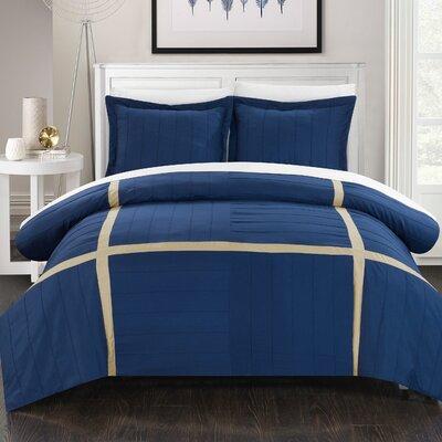 Giselle 7 Piece Duvet Cover Set Size: King, Color: Navy