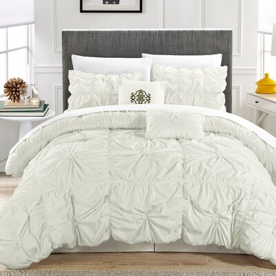 Alba Floral Pinch 6 Piece Comforter Set Color: White, Size: Queen