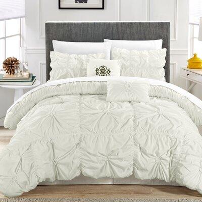 Floressa Floral Pinch 6 Piece Comforter Set Color: White, Size: Queen