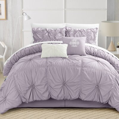 Alba Floral Pinch 6 Piece Comforter Set Size: King, Color: Lavender