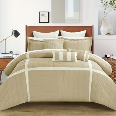 Vera 8 Piece Comforter Set Size: King, Color: Taupe