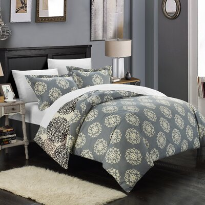 Jerome Boho Inspired Reversible Duvet Cover Set Color: Beige, Size: Queen