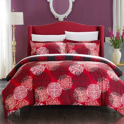 Jerome Boho Inspired Reversible Duvet Cover Set Size: King, Color: Red