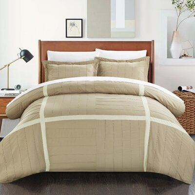 Giselle 3 Piece Duvet Cover Set Size: King, Color: Taupe