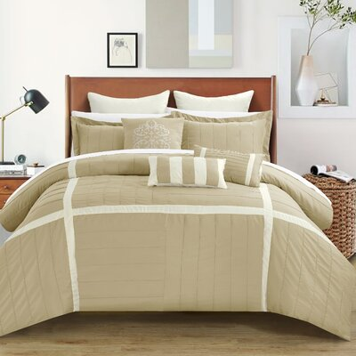 Vera 12 Piece Comforter Set Size: King, Color: Taupe