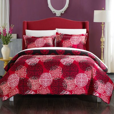 Kelsie Boho Inspired Reversible Quilt Set Size: King, Color: Red