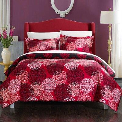 Kelsie Boho Inspired Reversible Quilt Set Size: King, Color: Red