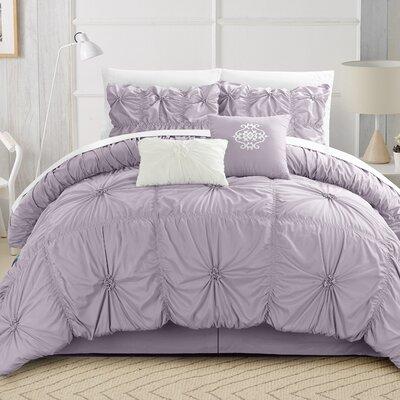 Alba Floral Pinch Comforter Set Size: King, Color: Lavender