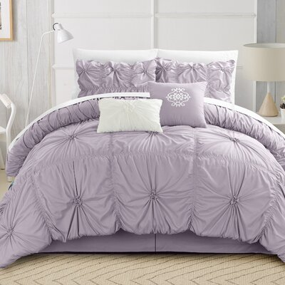 Floressa Floral Pinch 6 Piece Microfiber Comforter Set Size: King, Color: Lavender