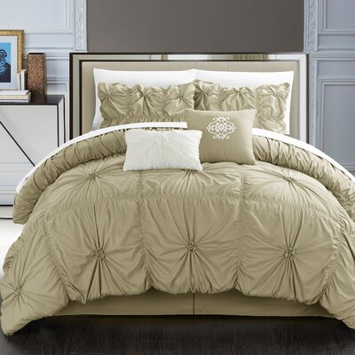 Floressa Floral Pinch 6 Piece Microfiber Comforter Set Size: King, Color: Taupe