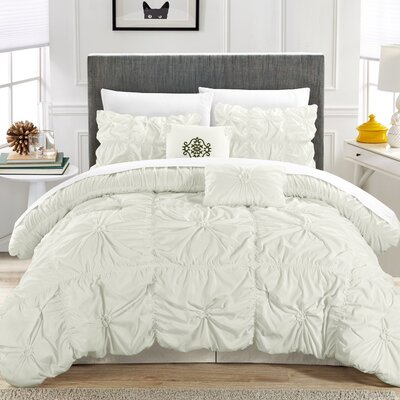 Floressa Floral Pinch 6 Piece Microfiber Comforter Set Size: King, Color: White