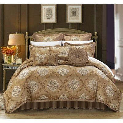 Aubrey 13 Piece Comforter Set Size: King, Color: Gold