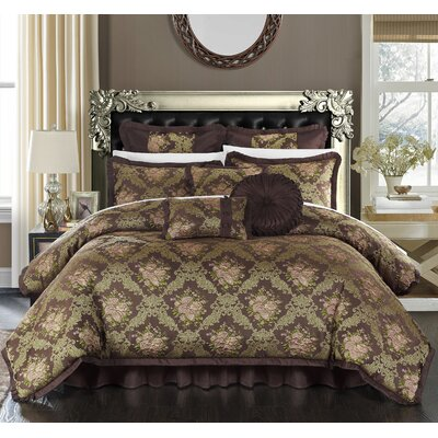 Le Mans 13 Piece Comforter Set Size: King, Color: Brown