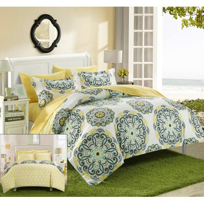 Ibiza Reversible Duvet Cover Set Size: Queen, Color: Yellow