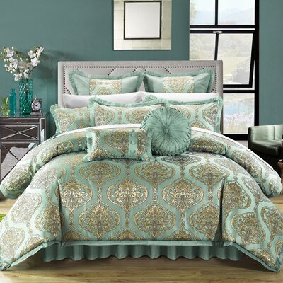 Como 9 Piece Comforter Set Color: Blue, Size: King