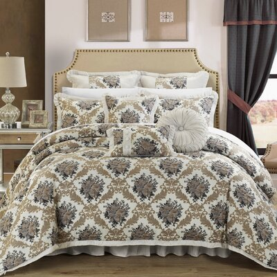 Le Mans 9 Piece Comforter Set Size: Queen, Color: Silver