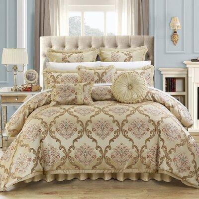 Aubrey 13 Piece Comforter Set Color: Beige, Size: Queen