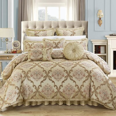 Aubrey 9 Piece Comforter Set Color: Beige, Size: Queen