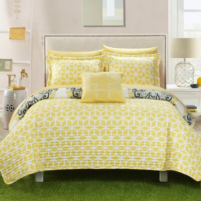 Madrid 8 Piece Reversible Quilt Set Size: Queen, Color: Yellow