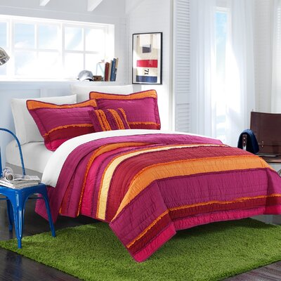 Italica Quilt Set Size: Twin, Color: Purple