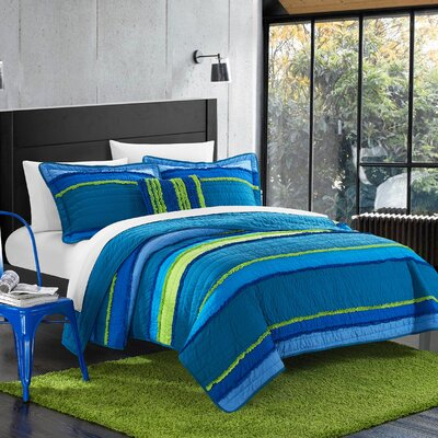 Italica Quilt Set Size: Full/Queen, Color: Blue