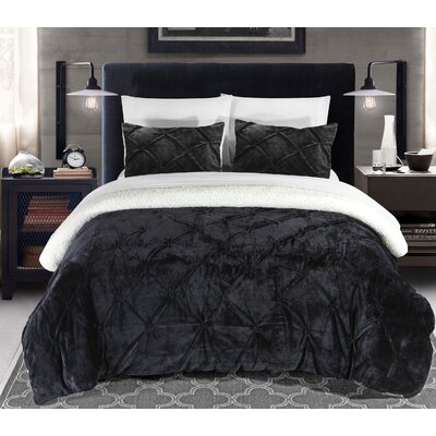 Fontane 2 Piece Twin XL Comforter Set Color: Black
