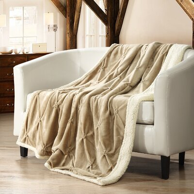Alba Pinch Pleated Sherpa Faux Fur Throw Blanket Color: Beige