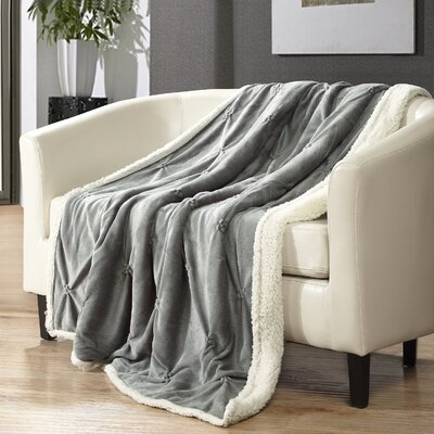 Alba Pinch Pleated Sherpa Faux Fur Throw Blanket Color: Grey