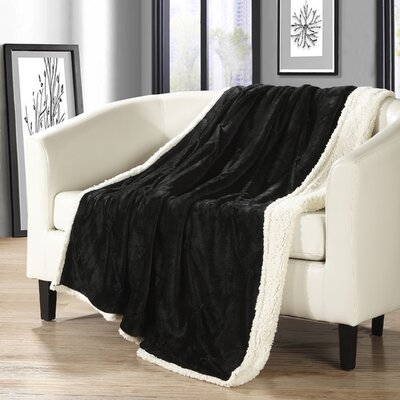 Alba Pinch Pleated Sherpa Faux Fur Throw Blanket Color: Black