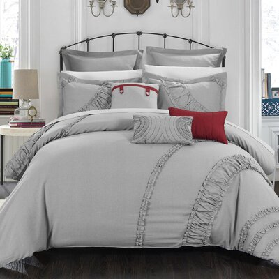 Lunar 12 Piece Comforter Set Size: Queen, Color: Silver